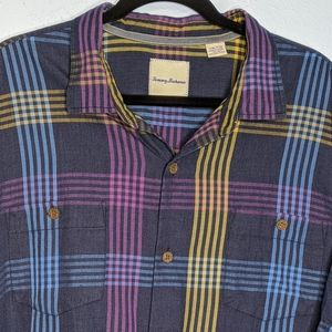Tommy Bahama Silk Blend Plaid Button Up Shirt